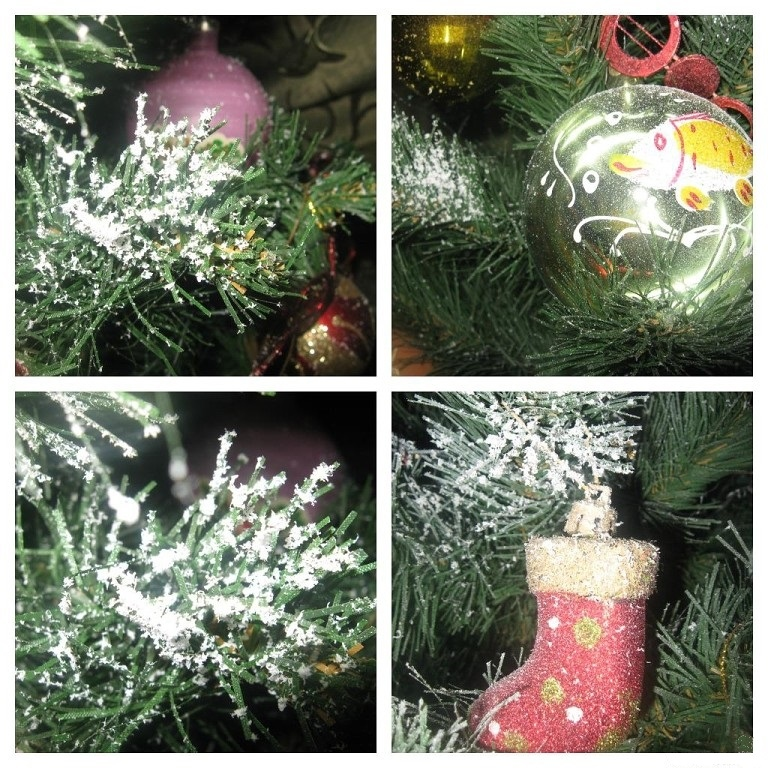 Christmas tree decoration with artificial snow