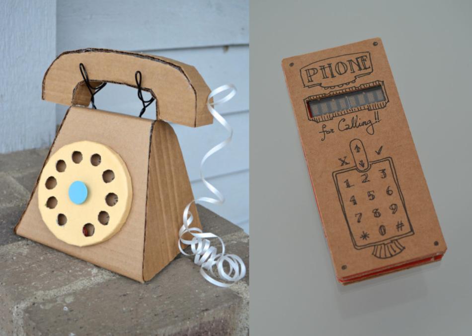 Телефон из картона для кукол