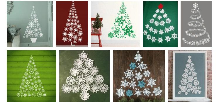 Árbol de Navidad de copos de nieve en la pared con sus propias manos.
