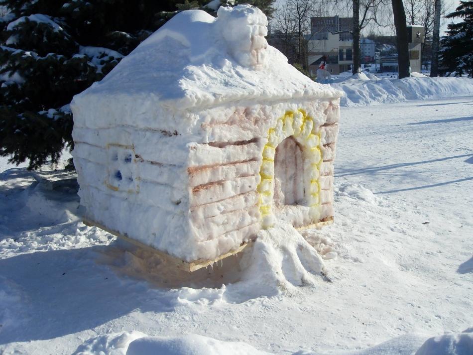 从雪的逗人喜爱的小屋站在院子里