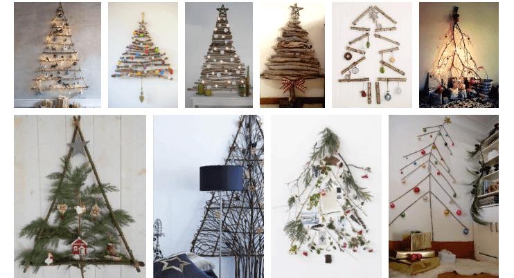 Árbol de navidad en la pared de ramas, palitos.
