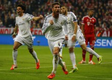 Real Madrid's Ramos celebrates after scoring second goal against Bayern Munich in Champion's League semi-final second leg soccer match in Munich