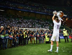 of Madrid is challenged by of Athletico during the UEFA Champions League Final match between Real Madrid and Club Atletico de Madrid at Stadio Giuseppe Meazza on May 28, 2016 in Milan, Italy.