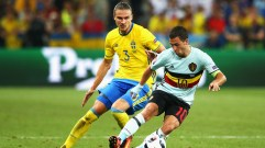 NICE, FRANCE - JUNE 22: Eden Hazard of Belgium is shadowed by Erik Johansson of Sweden during the UEFA EURO 2016 Group E match between Sweden and Belgium at Allianz Riviera Stadium on June 22, 2016 in Nice, France. (Photo by Alex Livesey/Getty Images)