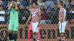 Portugal's defender Pepe (L) gestures after missing a goal beside Croatia's forward Mario Mandzukic (C) and Croatia's midfielder Ivan Perisic during the Euro 2016 round of sixteen football match Croatia vs Portugal, on June 25, 2016 at the Bollaert-Delelis stadium in Lens. / AFP / PHILIPPE HUGUEN (Photo credit should read PHILIPPE HUGUEN/AFP/Getty Images)