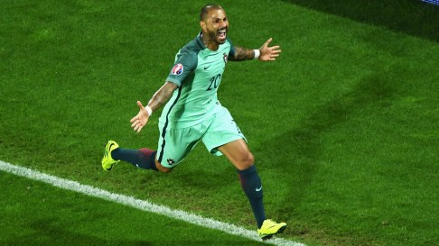LENS, FRANCE - JUNE 25: Ricardo Quaresma of Portugal celebrates scoring the opening goal during the UEFA EURO 2016 round of 16 match between Croatia and Portugal at Stade Bollaert-Delelis on June 25, 2016 in Lens, France. (Photo by Shaun Botterill/Getty Images)