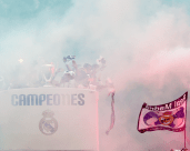 The bus in smoke