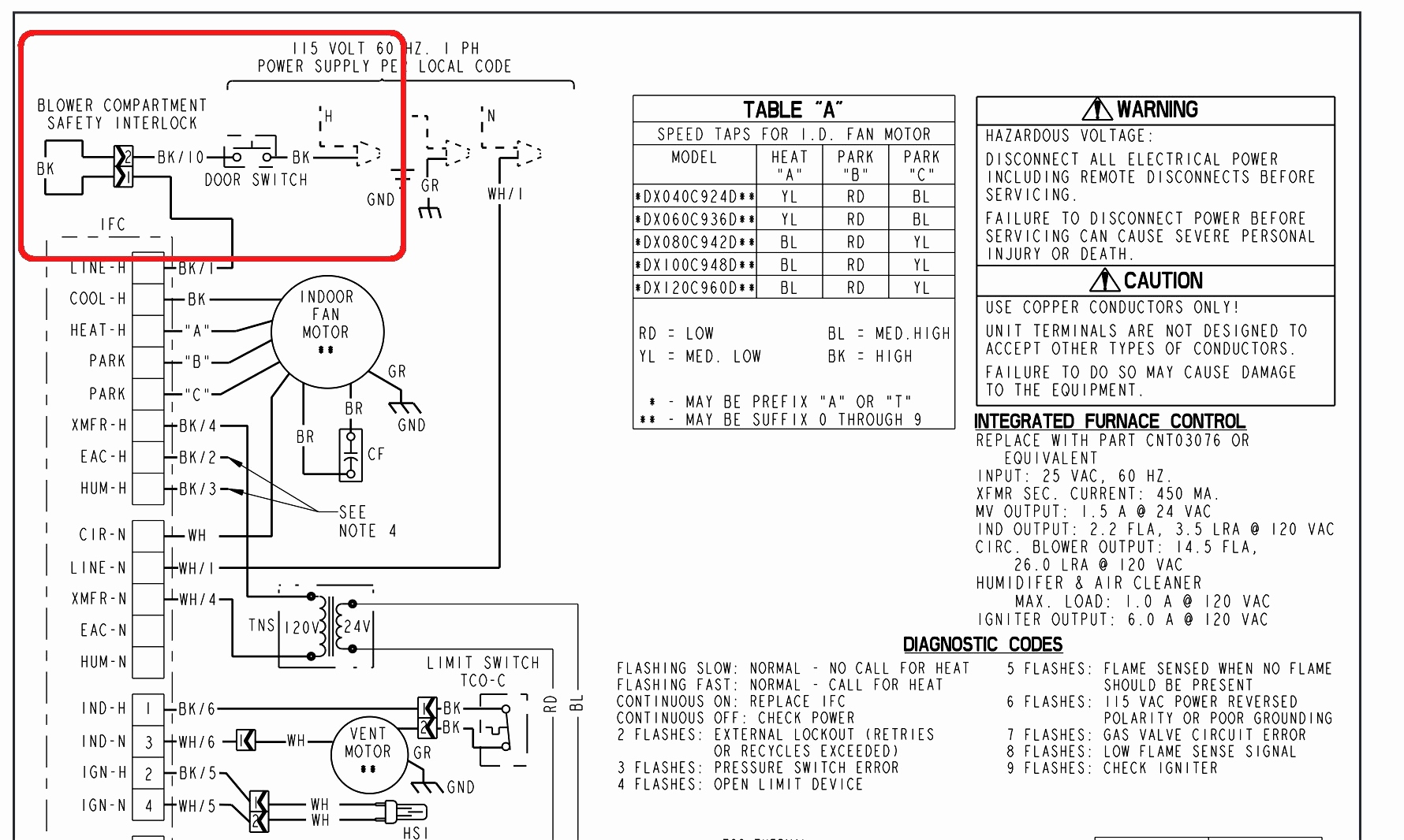 wiring diagram older furnace