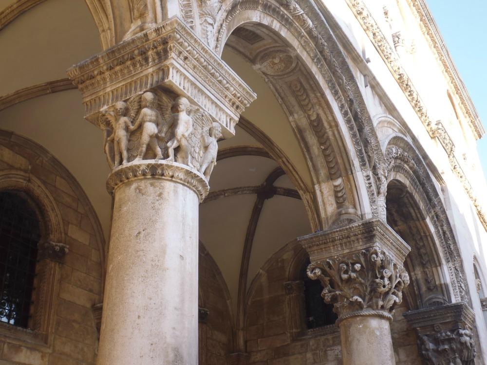 szczegółowe kolumny Dubrownika w Chorwacji