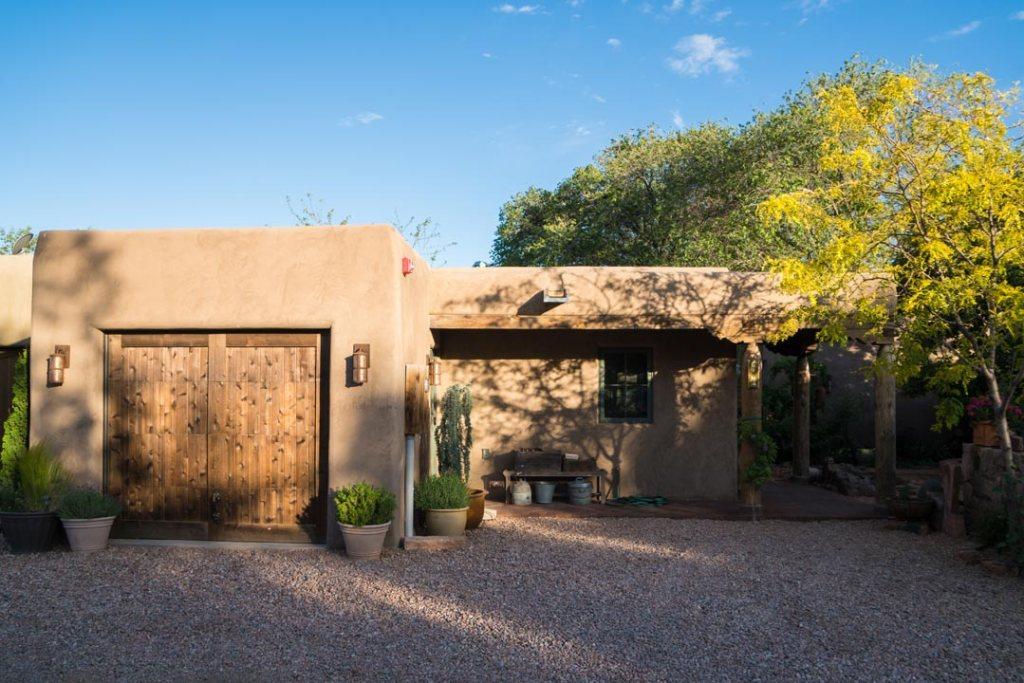 Outside if Adobe Casita in Santa Fe New Mexico