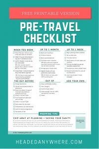 travel planning pre-travel checklist