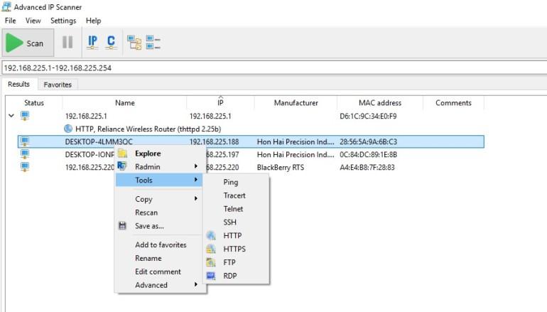Remote desktop find device ip