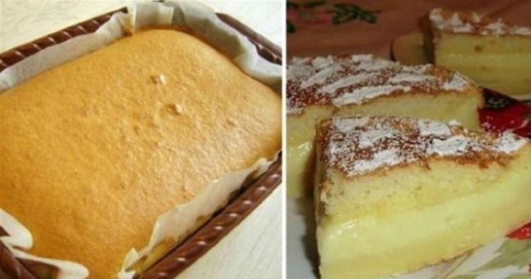 Пушистое пирожное, которое волшебным образом расслаивается во время выпечки