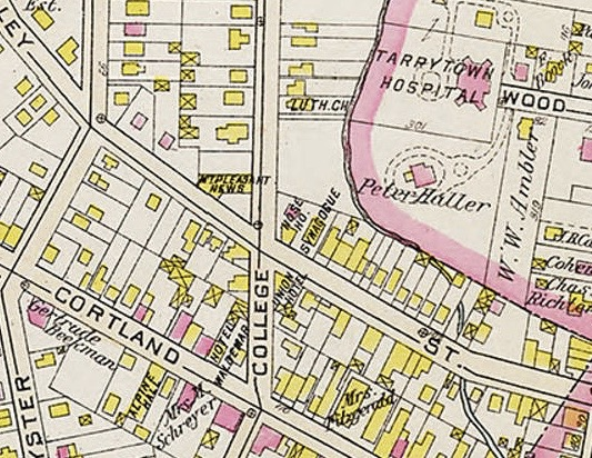 Map detail 1910 area of College and Valley Steets