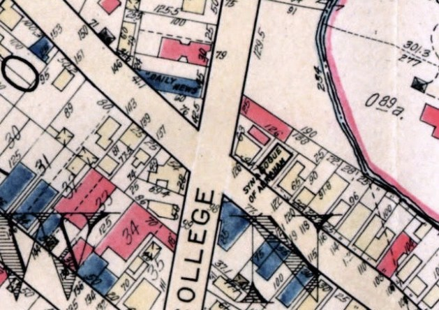 1931 map detail showing corner of College & Valley Streets