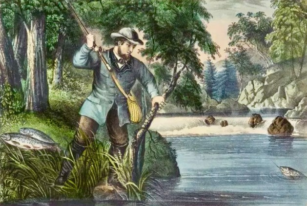 """Brook Trout Fishing""— Currier and Ives"