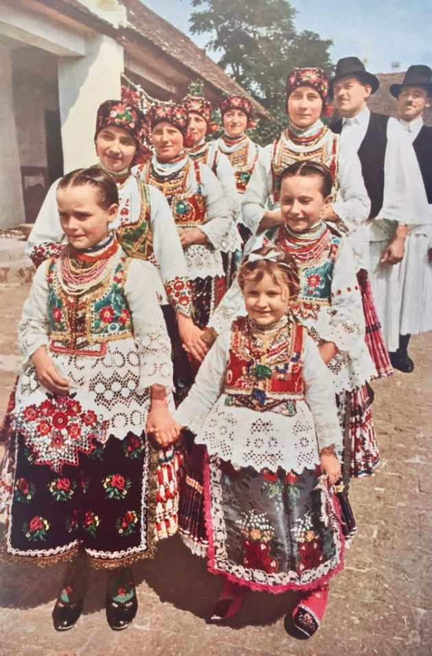 Hungarian folks in traditional attire