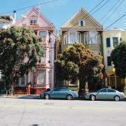 Used cars on city street