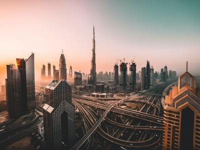 Junkyards of Dubai cityscape