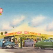 Illustration of old-school gas station and car wash
