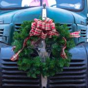 hot rod with wreath on the front