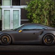 sports car with matte black car paint