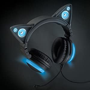 brookstone wired cat ear headphones blue headphones