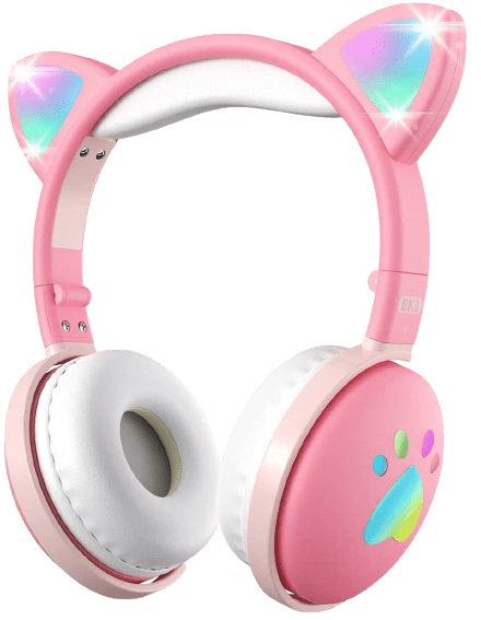 aresrora kawaii cat ear headphones with microphones