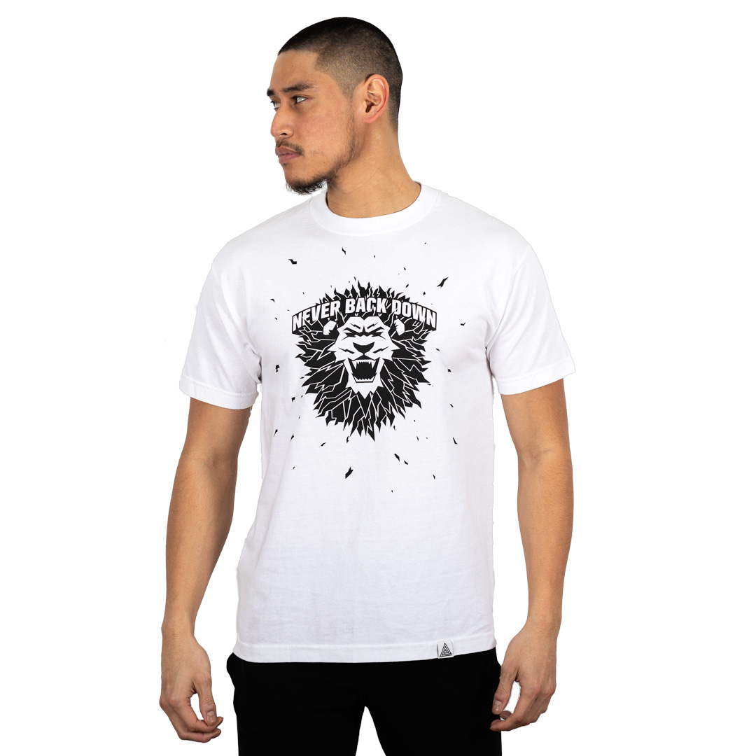 """Never Back Down"" Tee White"