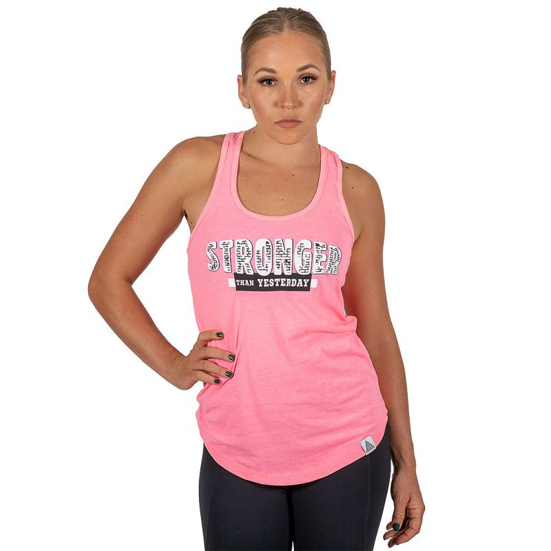 """WMNS """"Stronger Than Yesterday"""" Racerback Tank Neon Pink"""
