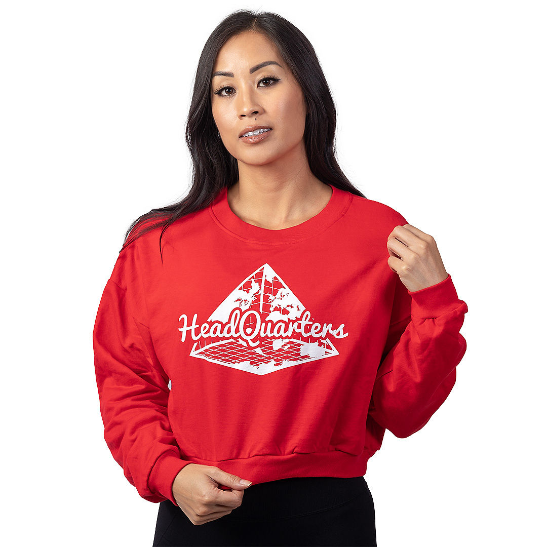 Logo Cropped Sweatshirt Red