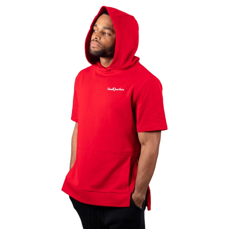 HeadQuarters Tech Fleece Short Sleeve Side Zip Hoodie Red