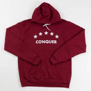 "Unisex ""Conquer"" Hoodie Cranberry"