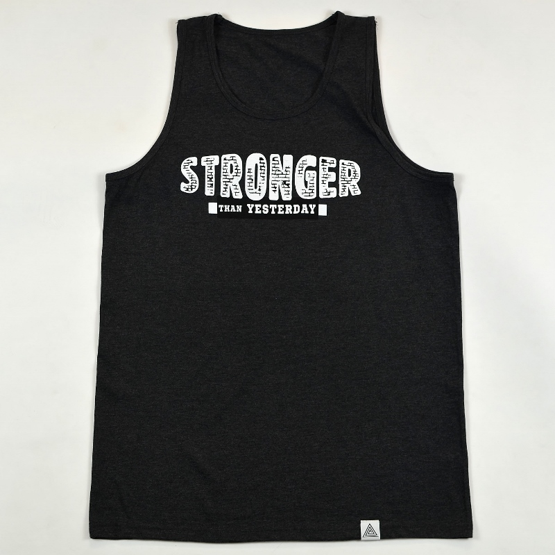 """""""Stronger Than Yesterday"""" Tank Charcoal Heather"""