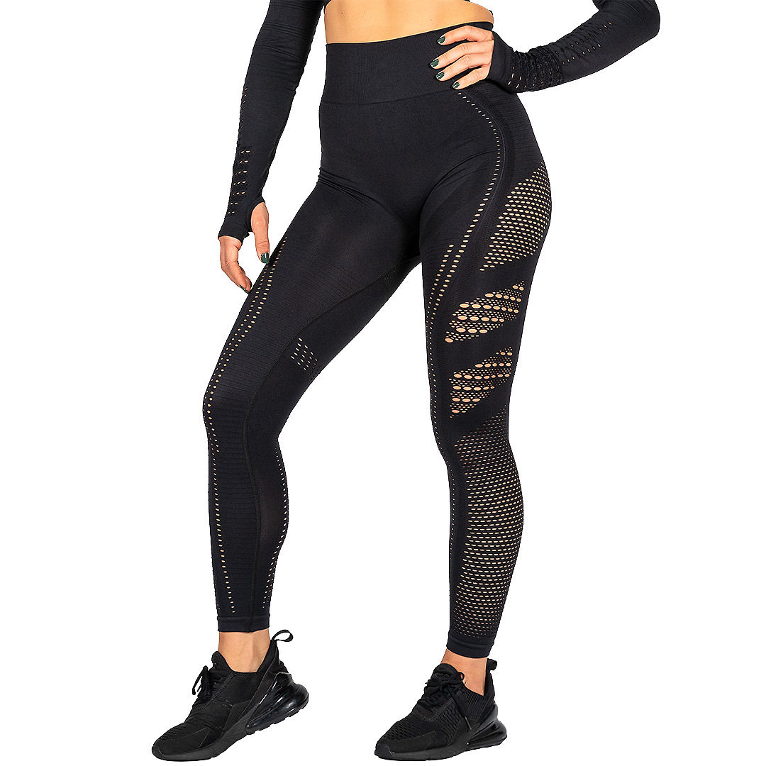 HeadQuarters Cutout Seamless Leggings Black