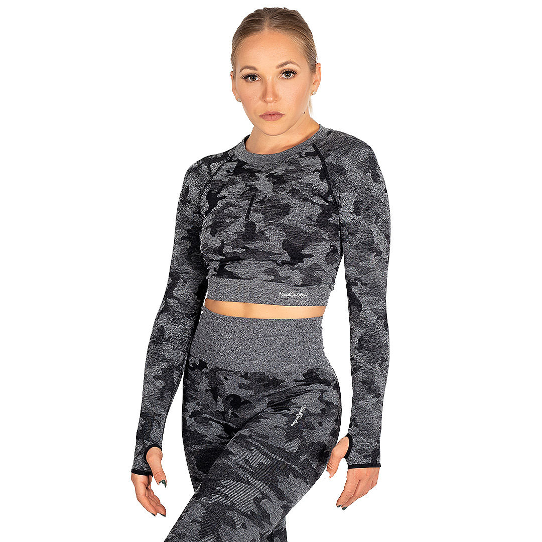 HeadQuarters Camo Seamless Crop Top Black