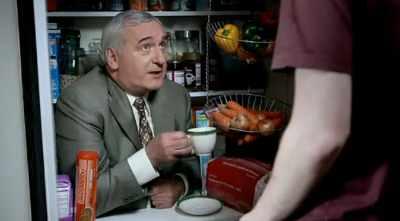 Bertie in a fridge