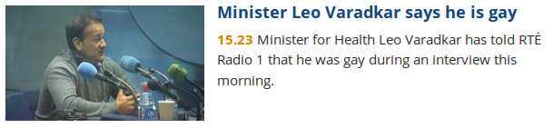 Varadkar anounces he is gay on radio