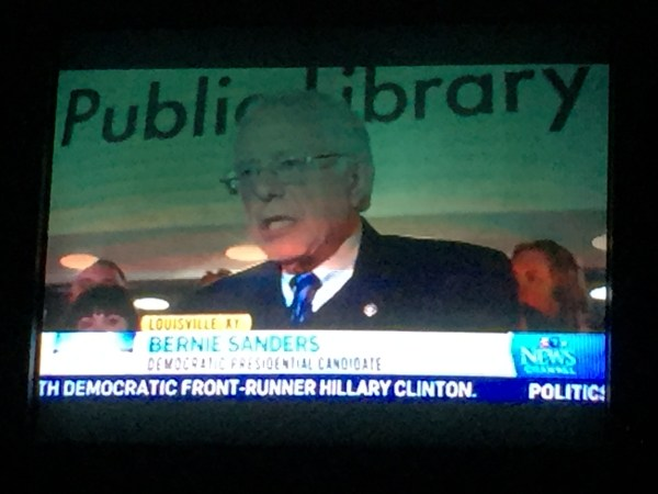 Bernie Sanders Speaks In Front of Public Library