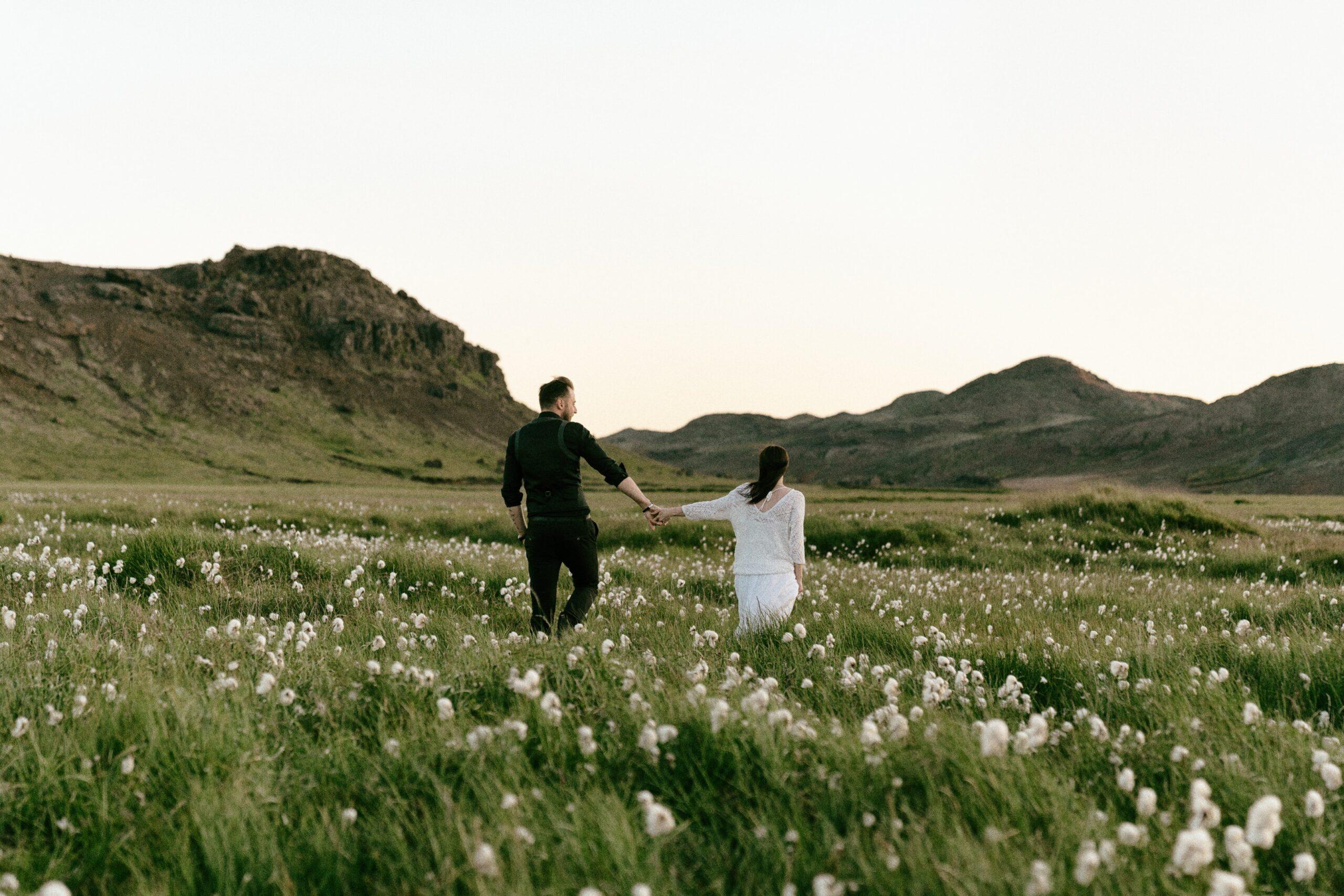 Outdoor wedding couple.