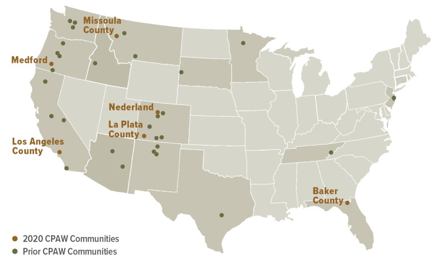 CPAW communities include cities and counties large and small across the United States. In 2020, CPAW communities include Missoula County, Montana; Medford, Oregon; Nederaland, Colorado; La Plata County, Colorado; Los Angeles County, California; and Baker County, Florida.