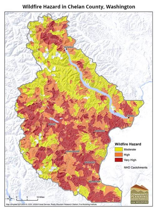 Wildfire hazard in Chelan County, Washington as mapped by the Rocky Mountain Research Station through the CPAW program.