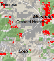 Map showing growth of homes in the Wildland Urban Interface