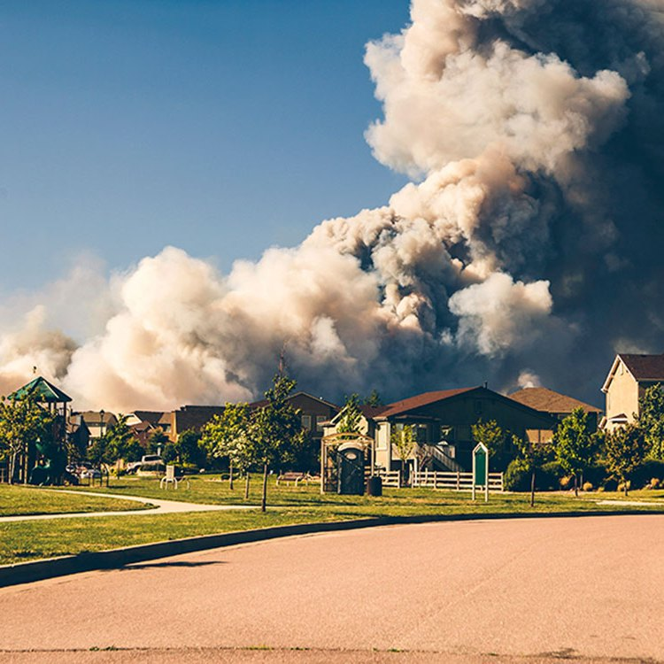 A column of wildfire smoke rises behind houses in a residential neighborhood.