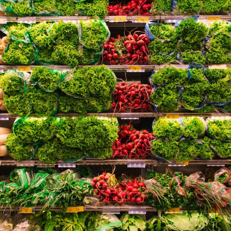 Bright vegetables line shelves
