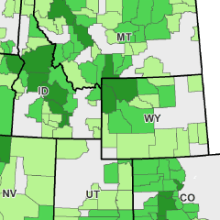 map of the effect of protected public lands on per capita income