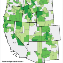 map of how protected public lands increase per capita income