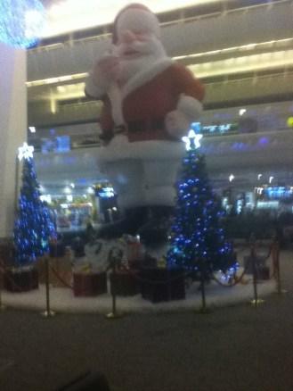 Giant Santa, Delhi Airport, hours before our departure