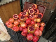 Pomegranates. Juice stands are common.