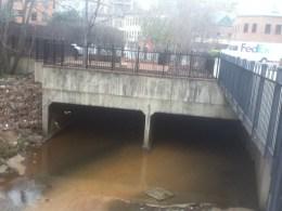 The modern bridge under Duke Street for Hooff's Run, the furthest upstream the stream sees daylight.